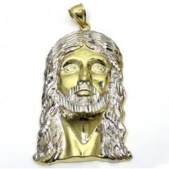 10k Yellow Gold Fancy Diamond Cut Jesus Face Pendant