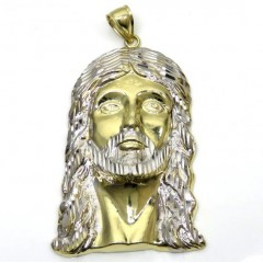 10k Yellow Gold Fancy Diamond Cut Jesus Face Pendant