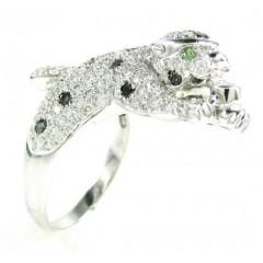 Ladies 14k White Gold Diamond Panther Ring 1.90ct