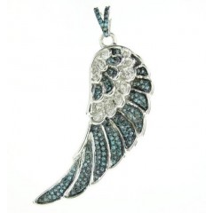 925 White Sterling Silver Blue Diamond Angel Wing Pendant 0.45CT