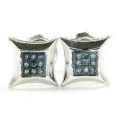 925 White Sterling Silver Blue Diamond Earrings 0.40ct