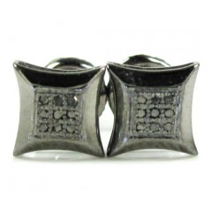 925 Black Sterling Silver Black Diamond Earrings 0.40ct