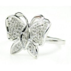 925 White Sterling Silver Diamond Butterfly Ring 0.17ct