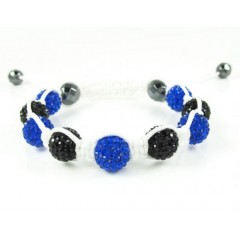Blue & Black Rhinestone Macramé Faceted Bead Rope Bracelet 9.00ct
