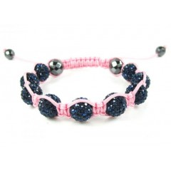 Dark Blue Rhinestone Macramé Faceted Bead Rope Bracelet 9.00ct