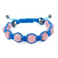 Pink Rhinestone Macramé Faceted Bead Rope Bracelet 9.00ct