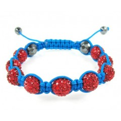 Red Rhinestone Macramé Faceted Bead Rope Bracelet 9.00ct