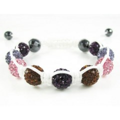 Multi Colored Rhinestone Macramé Faceted Bead Rope Bracelet 9.00ct
