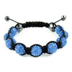 Blue Rhinestone Macramé Faceted Bead Rope Bracelet 9.00ct