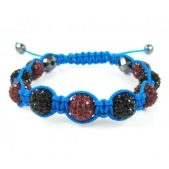 Dark Red & Black Rhinestone Macramé Faceted Bead Rope Bracelet 9.00ct
