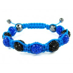 Black & Blue Rhinestone Macramé Faceted Bead Rope Bracelet 9.00ct