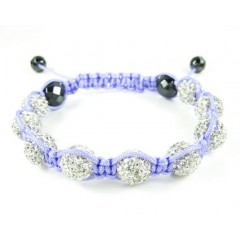 White Rhinestone Macramé Faceted Bead Rope Bracelet 9.00ct