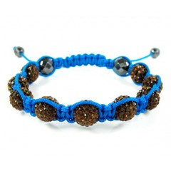 Sun Set Brown Rhinestone Macramé Faceted Bead Rope Bracelet 9.00ct