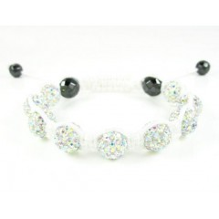 Multi Colors Rhinestone Macramé Faceted Bead Rope Bracelet 9.00ct