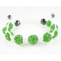 Neon Green Rhinestone Macramé Faceted Bead Rope Bracelet 9.00ct