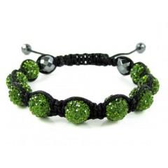 Green Rhinestone Macramé Faceted Bead Rope Bracelet 9.00ct