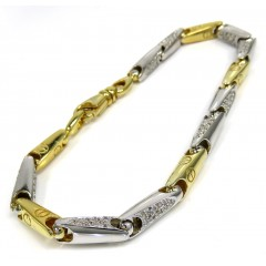 Mens 14k Two Tone Gold Bullet Link Diamond Bracelet 1.20ct