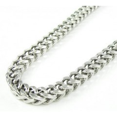 10k White Gold Franco Hollow Link Chain 40.5 Inch 5.4mm
