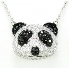 Ladies 18k Solid White Gold Black & White Diamond Panda Bear Pendant With Chain 2.02ct