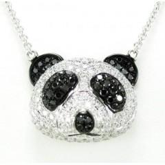 Ladies 18k Solid White Gold Black & White Diamond Panda Bear Pendant With Chain 2.02ct