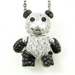Ladies 18k White Gold Black & White Diamond Teddy Bear Pendant With Chain 0.86ct