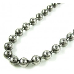 925 Black Sterling Silver Ball Link Chain 36 Inch 6mm