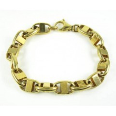 925 Yellow Sterling Silver Anchor Link Bracelet 9 Inch 10.5mm