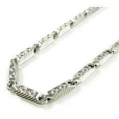 925 White Sterling Silver Faceted Bullet Link Chain 30 Inch 5.25mm