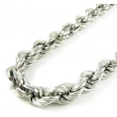 925 White Sterling Silver Rope Link Chain 18 Inch 7.80mm
