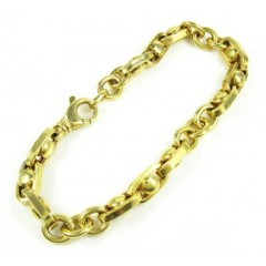 925 Yellow Sterling Silver Anchor Link Bracelet 9 Inch 9mm