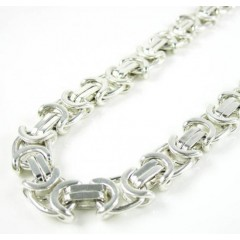 925 White Sterling Silver Byzantine Link Chain 26 Inch 6.35mm