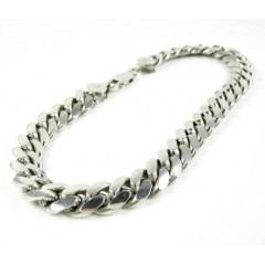 925 White Sterling Silver Miami Link Bracelet 10 Inch 9.20mm