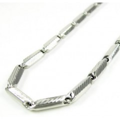 925 White Sterling Silver Faceted Bullet Link Chain 36 Inch 3.25mm