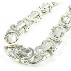 925 White Sterling Silver Byzantine Link Chain 36 Inch 10.50mm