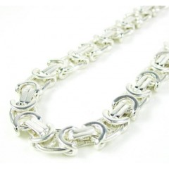 925 White Sterling Silver Byzantine Link Chain 24 Inch 6mm