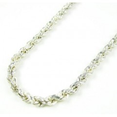 925 White Sterling Silver Rope Link Chain 30 Inch 2.80mm