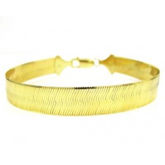 10k Yellow Gold Herringbone Bracelet 8 Inch 8.70mm