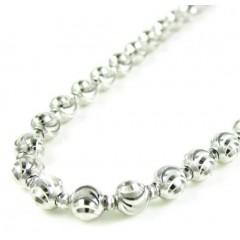 14k White Gold Diamond Cut Ball Bead Chain 22 Inch 4mm