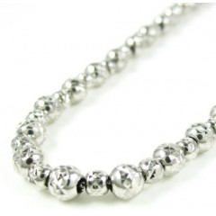 14k White Gold Diamond Cut Ball Bead Chain 20 Inch 4mm
