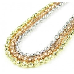 14k Gold Diamond Cut Ball Bead Chain 30 Inch 2.75mm
