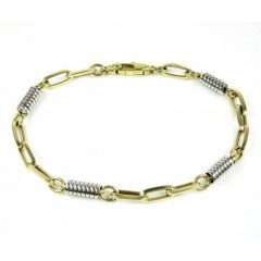 14k Two Tone Gold Fancy Link Bracelet 8 Inch 5.25mm