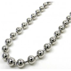 14k White Gold Smooth Ball Link Chain 30 Inch 4mm