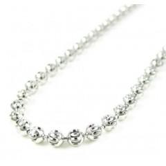 14k White Gold Diamond Cut Ball Link Chain 18-24 Inch 3mm