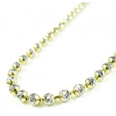 14k Two Tone Gold Diamond Cut Ball Link Chain 18-20 Inch 2.5mm