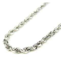 14k White Gold Rope Link Chain 20-30 Inch 3mm
