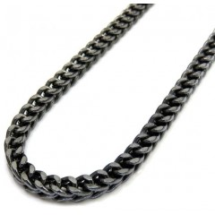 10k Black Gold Franco Link Chain 26-30 Inch 3.50mm