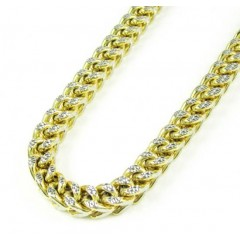 10k Yellow Gold Diamond Cut Franco Link Chain 26-30 Inch 6mm