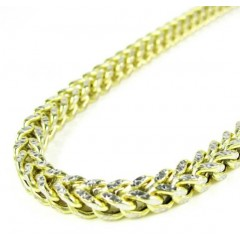 10k Yellow Gold Diamond Cut Franco Link Chain 26-36 Inch 4mm