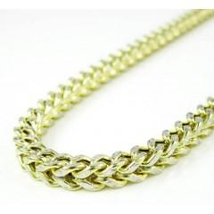 10k Yellow Gold Diamond Cut Franco Link Chain 26-36 Inch 3.3mm