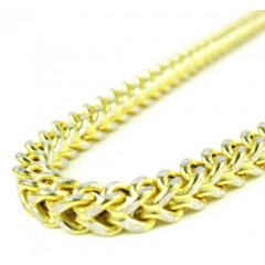 10k Yellow Gold Diamond Cut Franco Link Chain 26-30 Inch 3.7mm